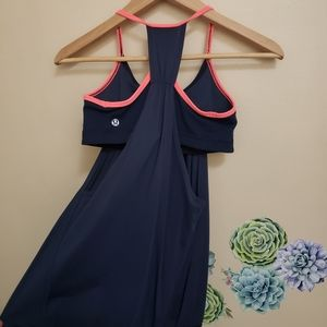 Lululemon blue tank with bra navy and pink size 4